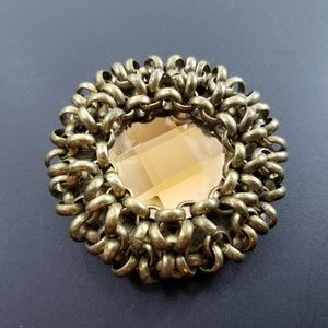 Chico's Brass Amber Stone Brooch 2 1/4 Inches